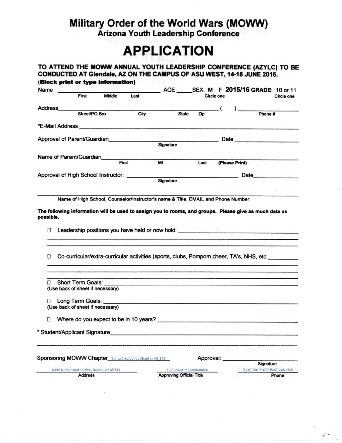 Youth registration form template the 12 secrets about youth for Course enrolment form template